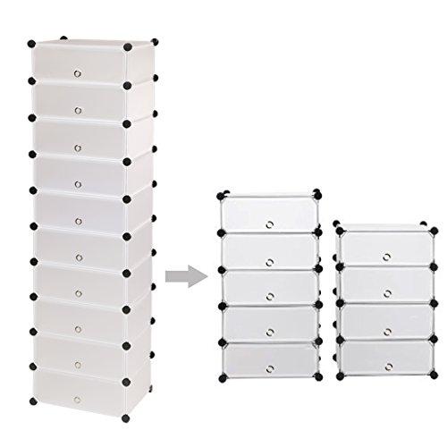 10 Tiers Transparent Space Saving Shoe Storage Organizer Standing Plastic Durable Shoe Tower Rack [UK Stock]