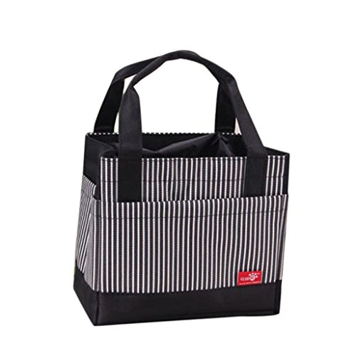 SUPPION Portable Lunch Bag, Insulated Thermal Lunch Carry Tote Storage Travel Picnic Bag Bento Pouch Bag (Black)