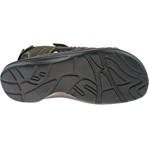 Herren Roamers Leder Klettverschluss braun Sport Sandalen m990b Größe UK 6