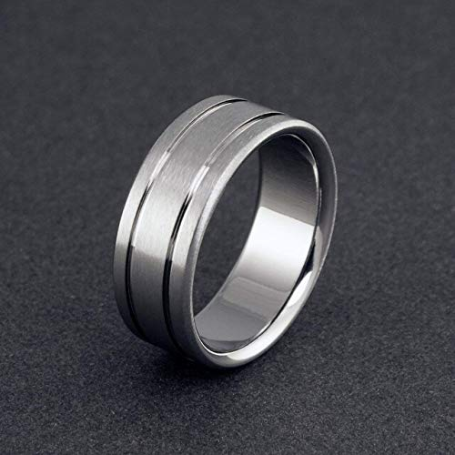 (Handmade Titanium Ring with Natural Pinstripes and a Flat Profile, Wedding or Promise ring for Men and Women, Allergy Free Ring)
