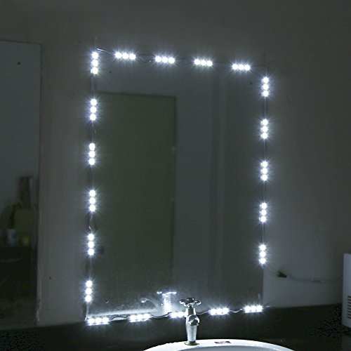 TOPINCN White LED Light Strip Kit Dressing Makeup Cosmetic Vanity Mirror Lighted with Power (10FT)