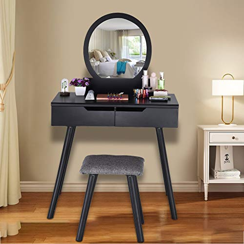LLJEkieee Vanity Table Set with Oval Mirror,Makeup Vanity Set Large Cushioned Stool Wood Dressing Table with 2 Large Sliding for Girls Women (Black)