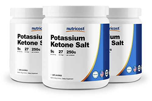 Nutricost Potassium BHB Salts, Exogenous Ketone Supplement, 6.4g Beta-Hydroxybutyrate Per Serv 250G 3 Bottles
