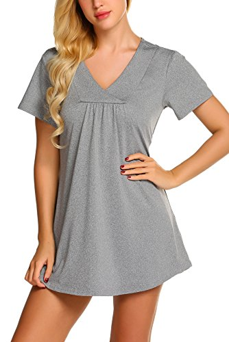 zhenwei Grey Short Sleeves Tops for Women, Ladies Casual Business Tunic Zulily Cross V Neck Flattering Shirt Work Wear Thin Soft Summer Clothes Grey XL by zhenwei