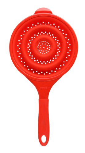 Dexas POP Collapsible Silicone Hand Held Strainer, 8 inch diameter, Solid Red