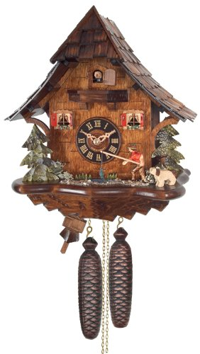River City Clocks Eight Day Cuckoo Clock Cottage, Fisherman Raises Fishing Pole
