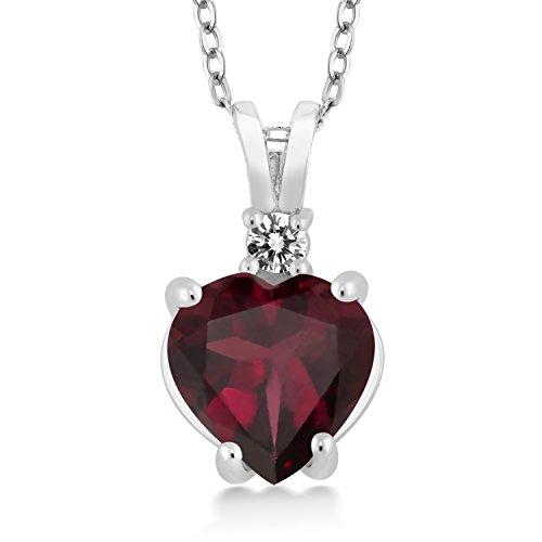 Gem Stone King 2.07 Ct Heart Shape Red Rhodolite Garnet White Diamond 925 Silver Pendant