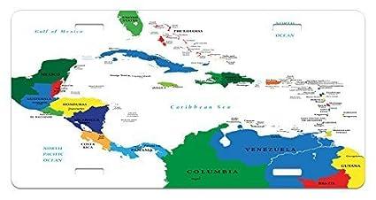 Amazon.com : zaeshe3536658 Map License Plate, CentraAmerica ... on south america map, tanzania map, caribbean island cruise, puerto rico map, panama map, san juan islands map, bahrain map, caribbean island names, cayman island map, jamaica map, netherlands map, isle of man map, belgium map, bermuda map, timor leste map, iraq map, japan map, brazil map, italy map, dominican republic map, greece map, central america map, virgin islands map, georgia map,