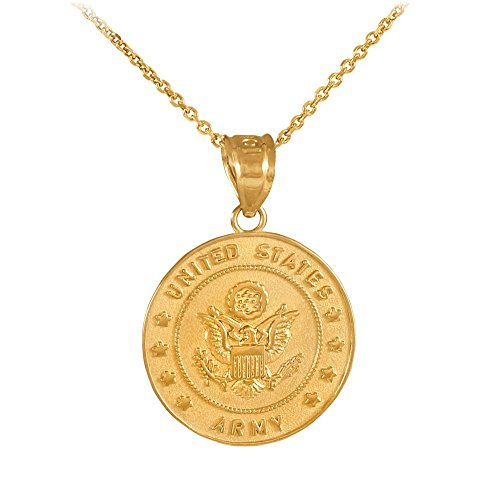 (14k Gold Medal-Style Charm US Army Coin Military Pendant Necklace, 16