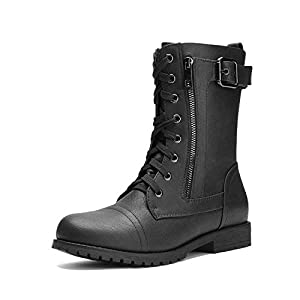DREAM PAIRS Women's Ankle Bootie Mid Calf Military Combat Boots