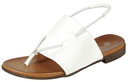 Cambridge Utvalda Womens Öppen Tå Rem Slingback Stretch Slip-on Flat Sandal Vit Pu