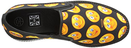 T.U.K. Shoes Womens Slip On Emoji Print Viva Low Sole Creeper Black