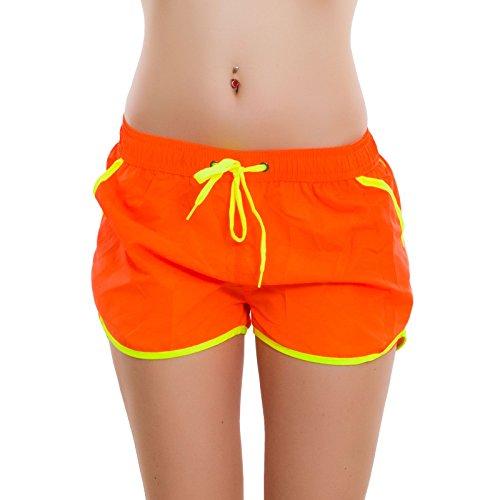 nuovo Arancio hot bicolore shorts copricostume mare pants Pantaloncini 16320 sexy Toocool Fluo donna BWwTqUIA