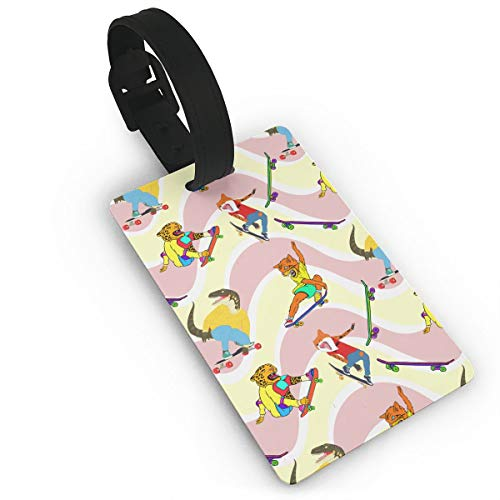 Travel Assistant Skateboard Dinosaur Luggage Tags with Adjustable Strap PVC ID Identifier Tag Labels for Suitcase Bag Travel Accessories
