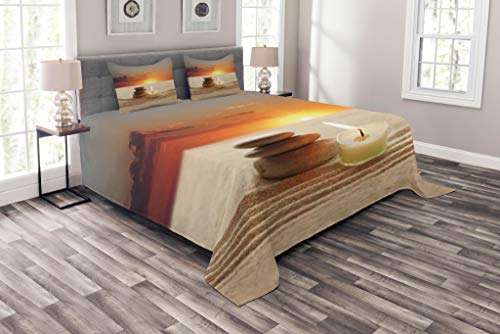 Lunarable Spa Bedspread Set Queen Size, Little Candle with Three Stones Middle of Sand with Sunset Serene Landscape, Decorative Quilted 3 Piece Coverlet Set with 2 Pillow Shams, White Brown and Orange by Lunarable