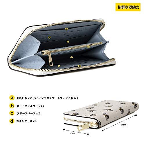 a95525edeef3 長財布 レディース 人気 大容量 YKKファスナー スマホ入れ可 ブランド ラウンドファスナー アコーディオン ウォレット