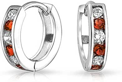 Bling Jewelry Simulated Garnet CZ Sterling Silver Two Tone Huggie Hoops