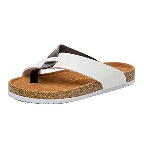 Pantoufles Chaussures Thongs Adulte Flops Plage de Liège Unisexe Noir Blanc Flip Confort d'été Sandales rqIqSC
