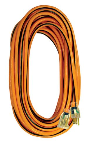 Voltec 05-00341 14/3 SJTW Outdoor Extension Cord with Lighted End, 25-Foot, Orange with Black Stripe