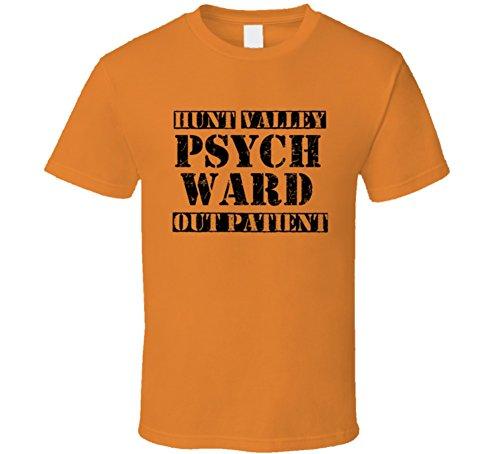 SHAMBLES TEES Hunt Valley Maryland Psych Ward Funny Halloween City Costume T Shirt L Orange (Hunt Valley Maryland)