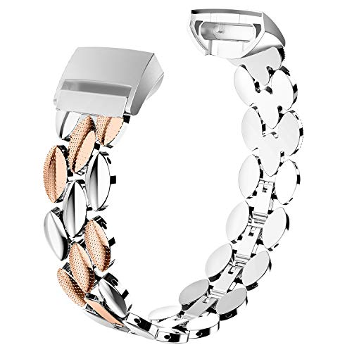 Wearlizer Compatible with Fitbit Charge 3 Bands for Women Metal Replacement Fit Bit Charge 3 hr Band Accessories Strap Bracelet Bangle Silver Rose Gold Black (Silver + Copper) ()