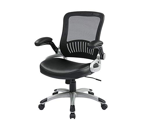 Оfficе Stаr Breathable Screen Back and Bonded Leather Seat Managers Chair with Flip Arms and Silver Coated Accents, Black ()
