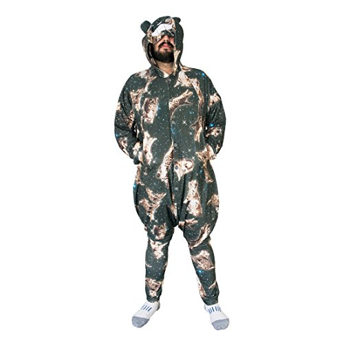 [Cosmic Kitty Comfies, Handmade Onesie Pajamas from Soft Comfortable Poly Cotton Blend For Men] (Work Out Video Star Costume)