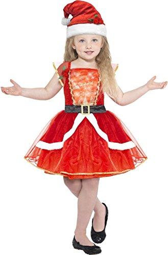 (Kids Girls Light Up Miss Santa Claus Father Christmas Xmas Festive Fun Fancy Dress Costume Outfit (7-9)