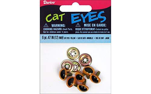 Darice Eyes Cat 12mm w/Washer Yellow 6pc