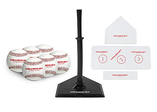PowerNet Baseball T-Ball Coaching Bundle | 8 Piece Tee-Ball Set Includes 6 Soft Core Baseballs, Adjustable Tee, 5 Throw Down Bases to Coach