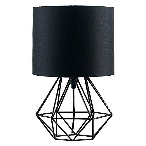 MiniSun - Moderna Lampara de Mesa Negra – Innovadora Base de Estilo Jaula - Pantalla Negra - Iluminacion Interior