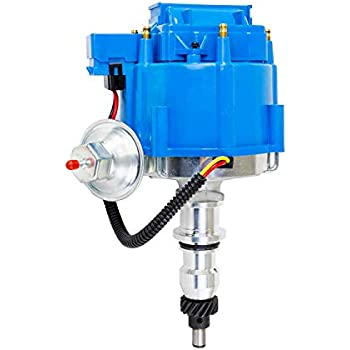 a-team performance hei complete distributor 65k coil compatible with ford  inline 6 144 170 200 250 5/16 hex shaft one wire installation blue cap