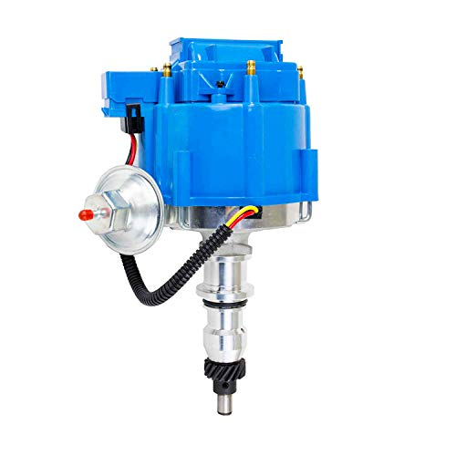 A-Team Performance HEI Complete Distributor 65K Coil Compatible with Ford Inline 6 144 170 200 250 5/16 Hex Shaft One Wire Installation Blue Cap ()