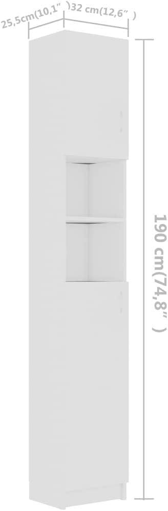 Irfora Armoire de Salle de Bain///étag/ère de Salle de Bain//Armoire de Salle de Bain Blanc 32x25,5x190 cm Agglom/ér/é