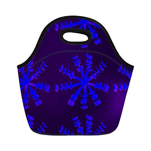 Tinmun Lunch Tote Bag Winter Watercolor Blue Indigo Boho Pattern Watercolour Snowflak Batik Reusable Neoprene Bags Insulated Thermal Picnic Handbag for Women Men
