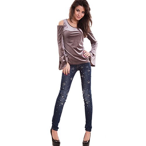 CD29 sexy Toocool Grigio nuova maniche pipistrello velluto effetto donna top Maglia maglietta 8qp816v