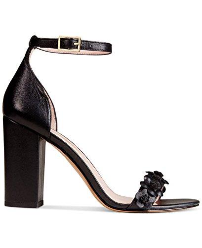 Avec Les Filles Womens Michele Leather Open Toe Special, Black, Size 5.5