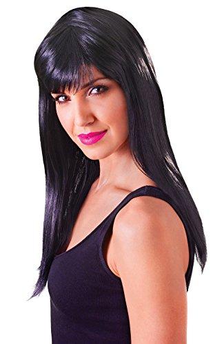 Black Temptress Costumes Wig (Retail Zone Women's Shoulder Length Wig Fringe Temptress Cher Fancy Dress Adult One Size Black)