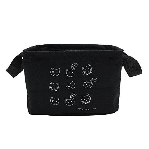 Mziart Small Fabric Storage Basket with Handle, Foldable Canvas Mini Storage Bin Organizer for Nursery Kids Toys Babies Room (Black Cat)