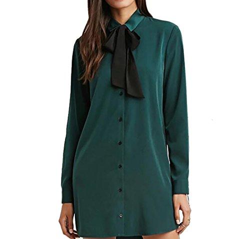 Green Women Down Shirt Sleeve Button Bow Dress Long Jaycargogo Tops Tie advgRwdq