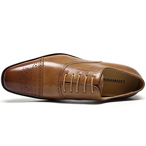 Scarpe Da Uomo Chamaripa Per Ascensori Scarpe Basse In Pelle Di Vitello Oxford - 7,5 Cm Più In Alto - K4022 ¡marrone01