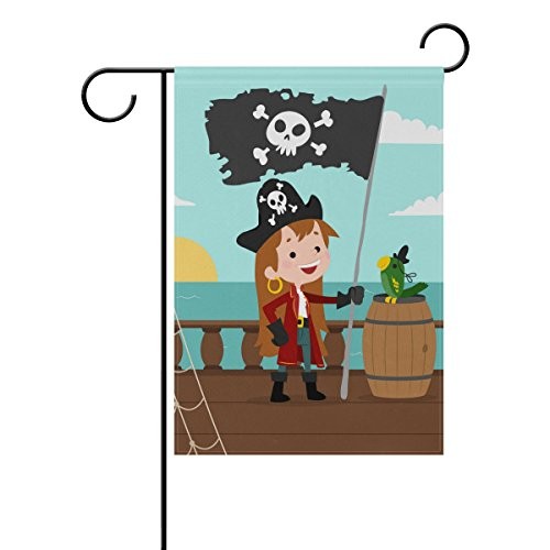 Blue Viper Girl With Pirate Flag Garden Flag Banner 28 x 40 Inch Decorative Garden Flag for Outdoor Lawn and Garden Home Décor Double-Sided (Flag Pirate Girl)