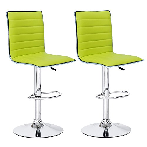 Leather Pedestal - Joveco Hydraulic Lift Adjustable Barstool with Leather Look, Horizontal Channel Tufting Chrome Accents, Pedestal Base (Set of Two) (Lemon Green)
