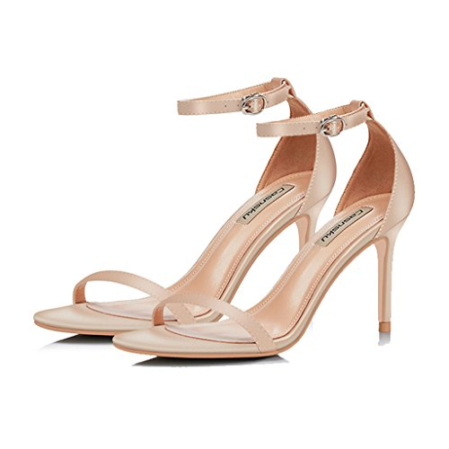 shoes sexy heels 5cm Size summer sandals Champagne fashion fine new Pink Color buckle 8 37 0Ywqdz0