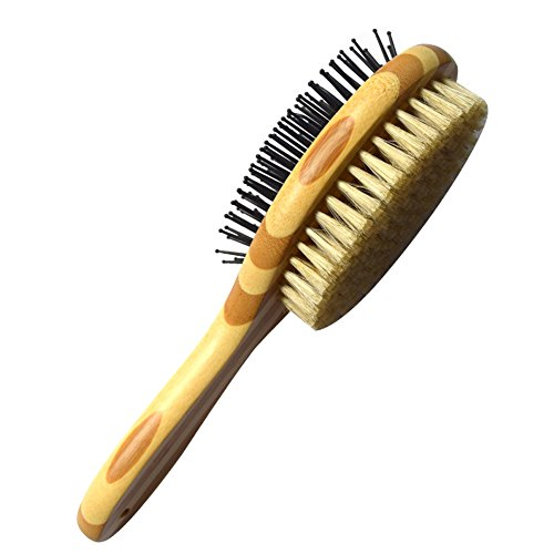 HaloVa Pet Comb, Professional Double Sided Pin & Bristle Bamboo Brush for Dogs & Cats, Grooming Comb Cleans Pets Shedding & Dirt for Short Medium or Long Hair (Bristle Brush Slicker)