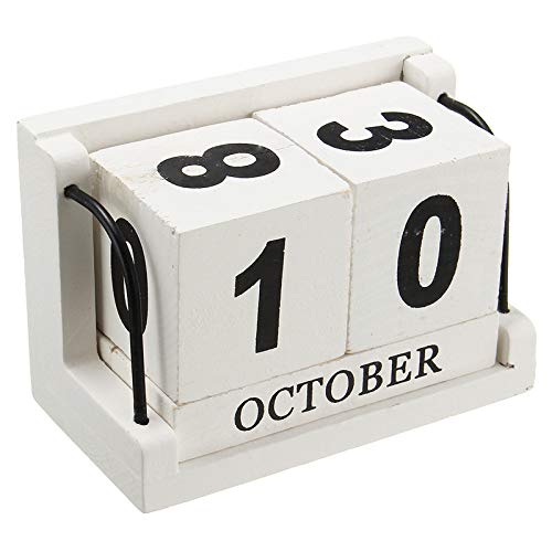 Jeteven Vintage Wood Perpetual Calendar, Shabby Chic Blocks Desktop Calendar Home Office Decoration, White, 4.33''X2.17''X2.95''