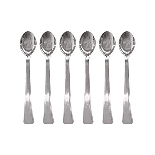 Candlewood Imports Mini Catering Dessert Appetizer Disposable Tasting Spoons, 240 count, 4 inches, Silver Finish