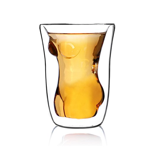 LINKALL Naked Nude Women Girl Double Layer Glass Cup Crystal Clear Shot Cocktail Beer - With Girls Naked Glasses Hot