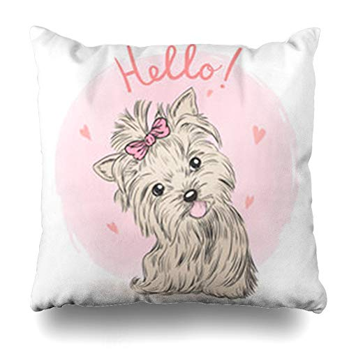 Alfredon Throw Pillow Covers Sweet Pink Love Small Cute Puppy Girl Wildlife Charming Graphic Cool Bow Friendship Heart Pillowcase Square Size 18 x 18 Inches Home Decor Cushion Cases -