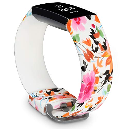 Allbingo 3D Cute Bands Compatible with Fitbit Charge 3 & Charge 3 SE, Women Men Floral Replacement Strap Accessories Wristband Small Large for Fitbit Charge 3 Fitness Tracker